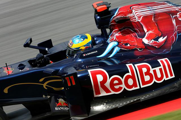 Sebastien pilots his Ferrari-powered Toro Rosso Formula 1 car