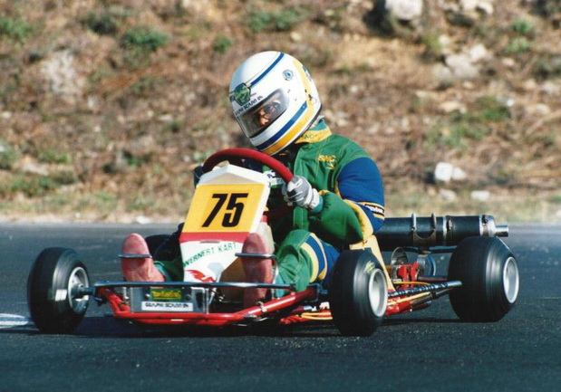 Sebastien piloting one of his go karts as a young child